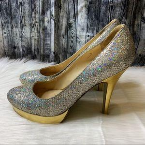 Enzo Angiolini Sparkly Glitter Round Toe Heels